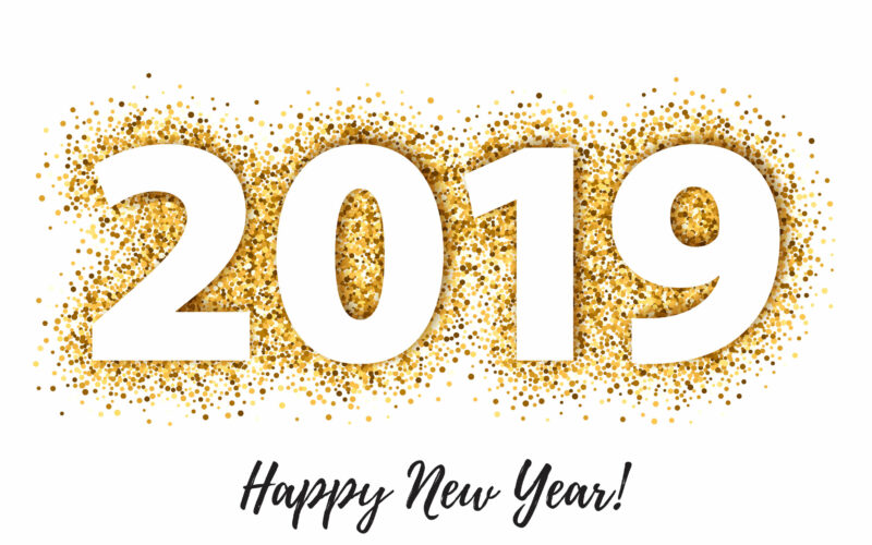 2019 Happy New Year background with golden glitter number. Christmas winter holidays design. Seasonal greeting card, calendar, brochure template.